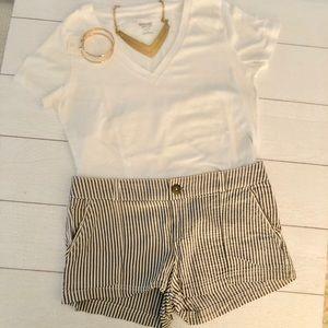 Pin Stripped Charcoal & White Linen Shorts